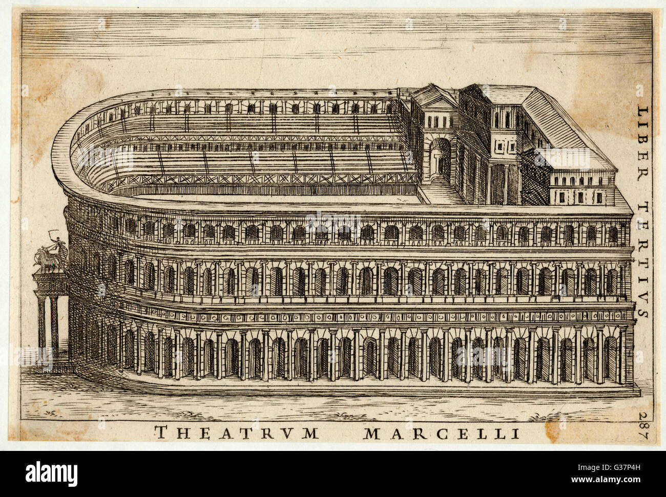 Rekonstruktion des Theaters der Marcellus.     Datum: 1665 Stockbild