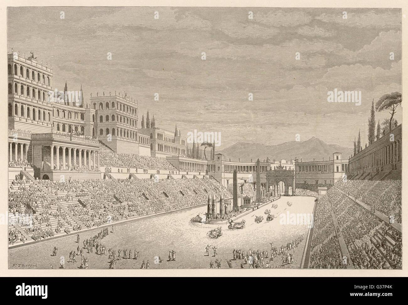 Rekonstruktion des Circus Maximus. Stockbild
