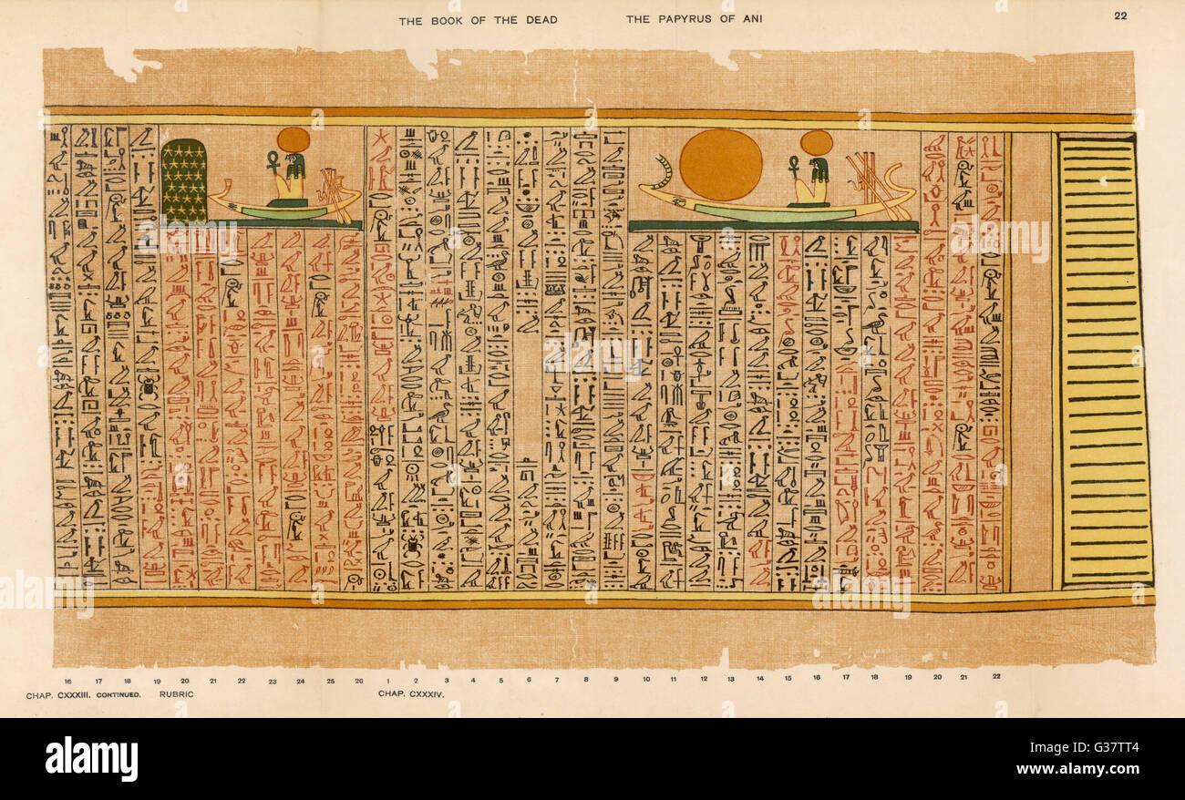 Ein Beispiel der ägyptischen Hieroglyphen: der Sonnengott in seiner Rinde Stockbild