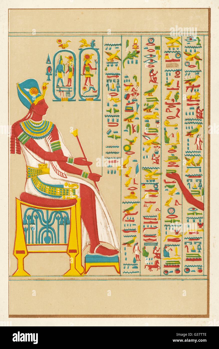 Ein Beispiel der ägyptischen Hieroglyphen Datum: 16. Jahrhundert v. Chr. Stockbild