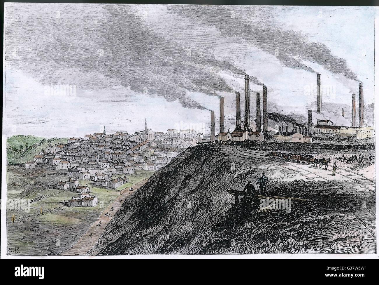 Fabrik in Dowlais, South Wales Datum Rauch: 1875 Stockbild