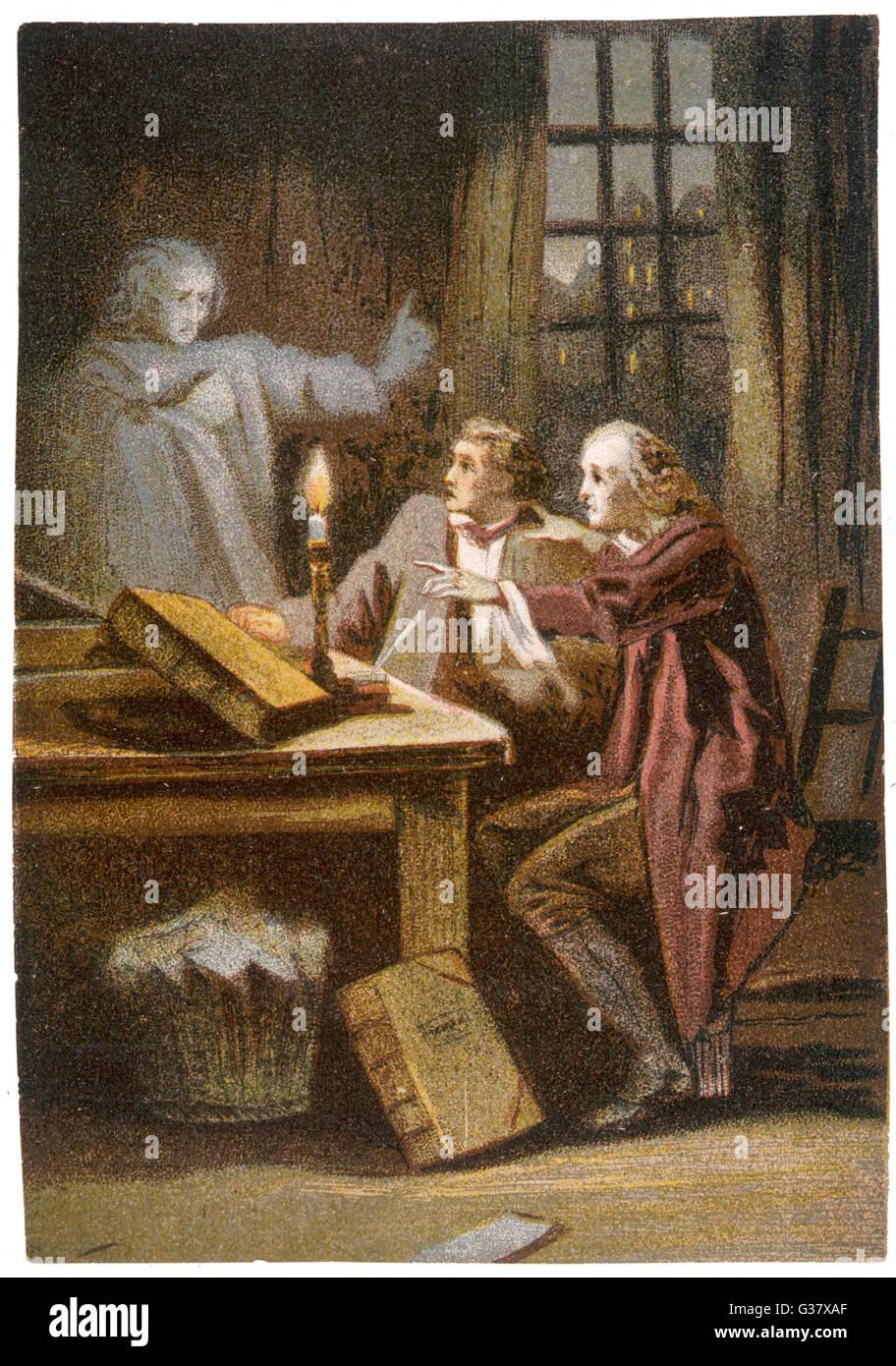 Zwei Wissenschaftler, Einstieg in den Okkultismus als Wissenschaftler einen Geist der Toten - berufen werden, und Stockbild