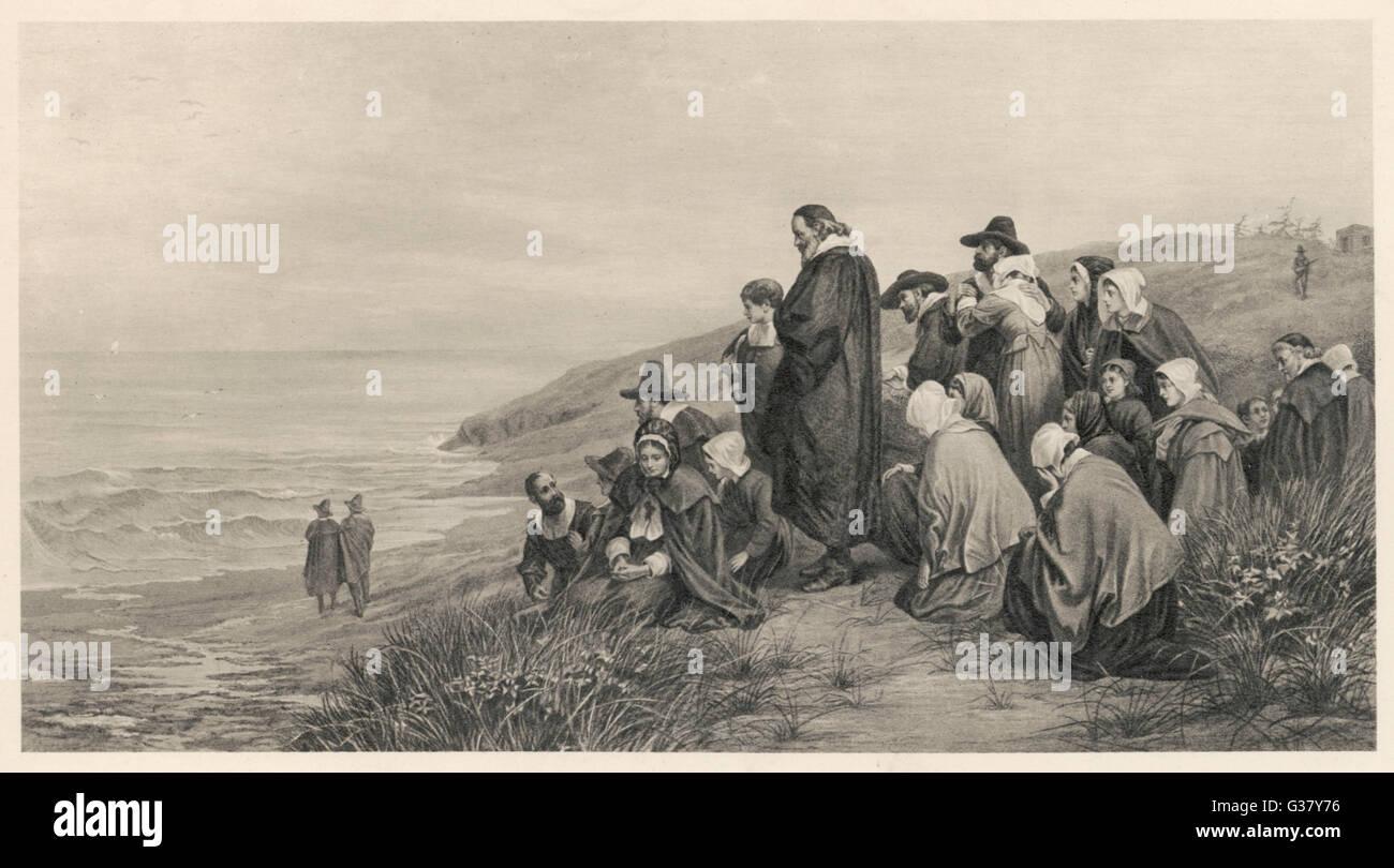 Die Pilgerväter beobachten das Mayflower Segel nach Hause nach England.     Datum: 1620 Stockbild