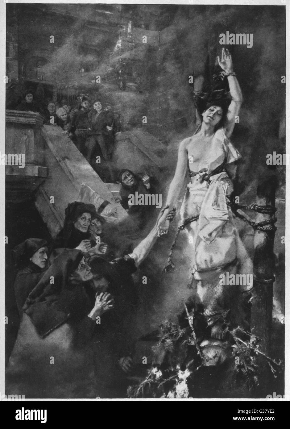 Brennen Sie eine deutsche Hexe.     Datum: 16. Jahrhundert Stockbild