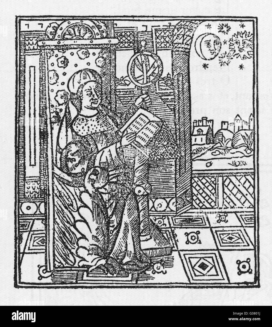 Ein Astronom studiert die Planetenbewegungen Datum: 16. Jahrhundert Stockbild