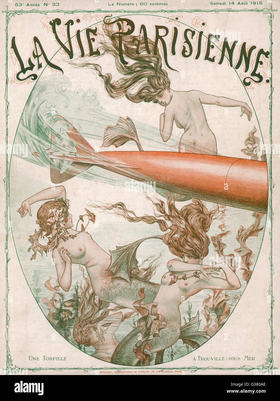 Die Mer-Menschen finden ihre friedliche Domäne drangen durch die Torpedos der Weltkrieg ein Datum: 1915 Stockbild