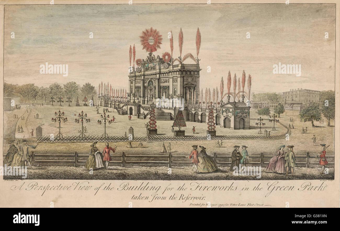 Ein Feuerwerk im Green Park, der Frieden von Aachen zu ...