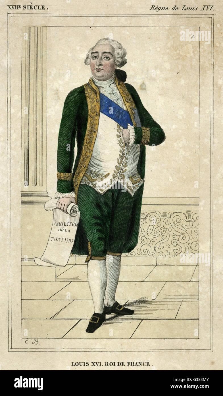 """LOUIS XVI - mit einem Dokument mit dem Titel """"Abschaffung De La Folter"""" Datum: 1754-1793 Stockbild"""