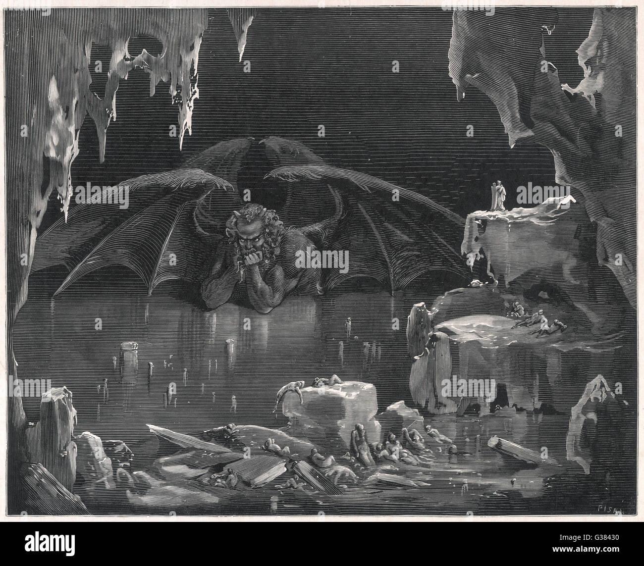 Der geflügelte Dämon in seiner eisigen Höhle Stockbild