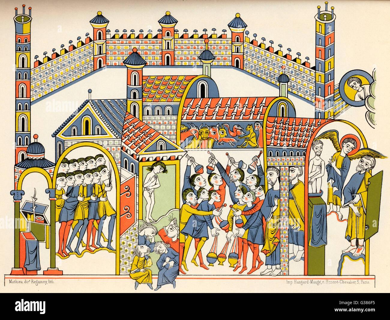 Mittelalterliche Darstellung der Anbetung von Götzen (nach dem Buch von Ezekiel, OT) Datum: (10. Jahrhundert) Stockbild