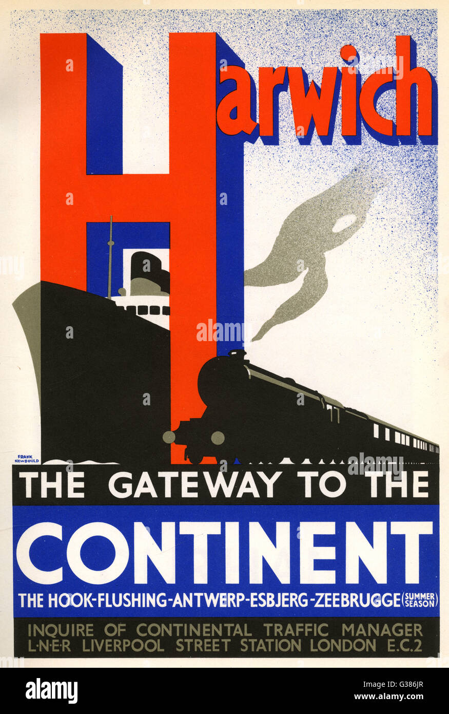 HARWICH Tor zum Kontinent Datum: 1936 Stockbild