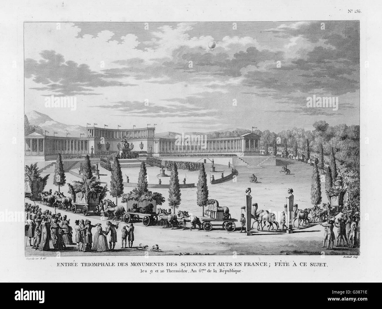SCIENCES ET ARTS Festival zu Ehren der Wissenschaften und der Künste: der Siegeszug Datum: Juli 1798 Stockbild