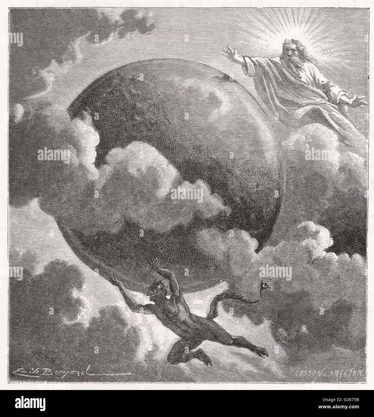 Gut, in Form von Gott, und das Böse in Form des Teufels, die Welt über vorhanden sind Stockbild