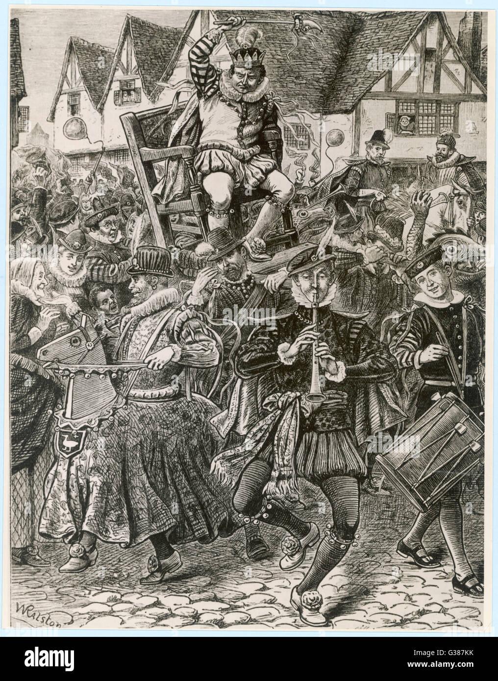Der Herr der Missregierung Datum: 16. Jahrhundert Stockbild