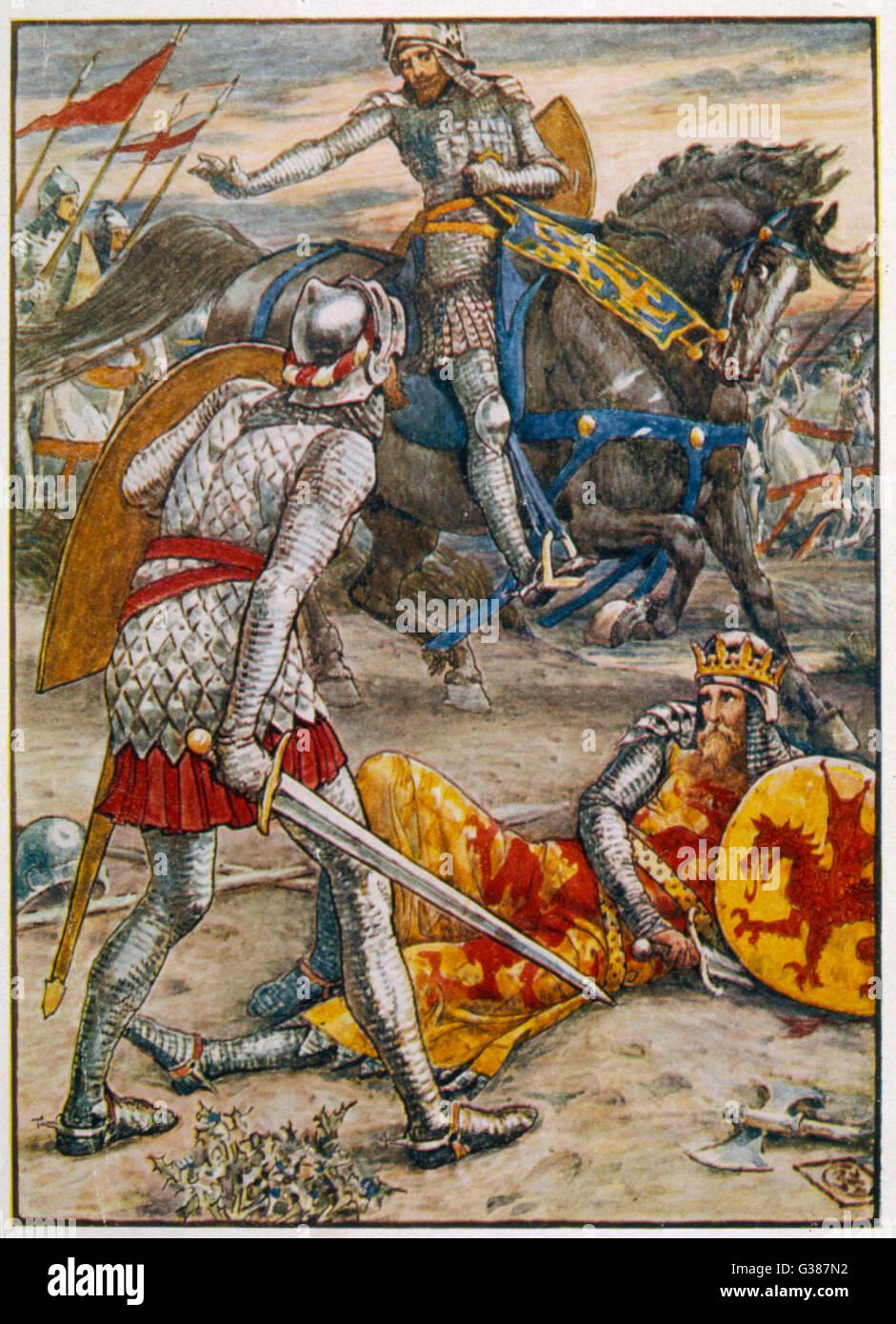 Sir Lancelot wird verhindert, dass Sir Bors aus Tötung König Arthur. Stockbild