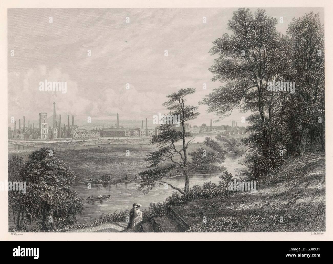 Die Industrielandschaft in Burton-On-Trent.         Datum: ca. 1840 Stockfoto