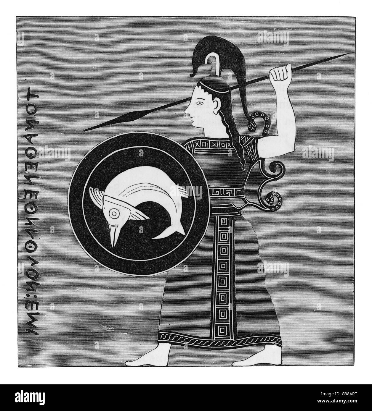 Obwohl hier im kriegerisch-Modus dargestellt, ist Athena auch der Patron der Künste und des Lernens, wie es Stockbild