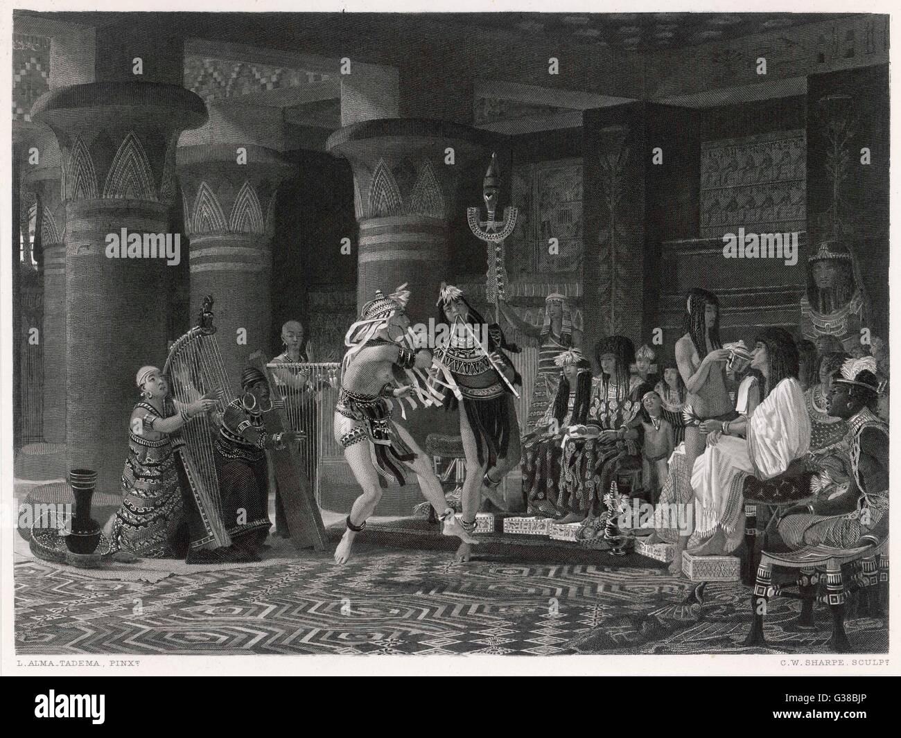 Eine musikalische Soiree mit Erfrischungen Datum: ca. 2000 v. Chr. Stockbild