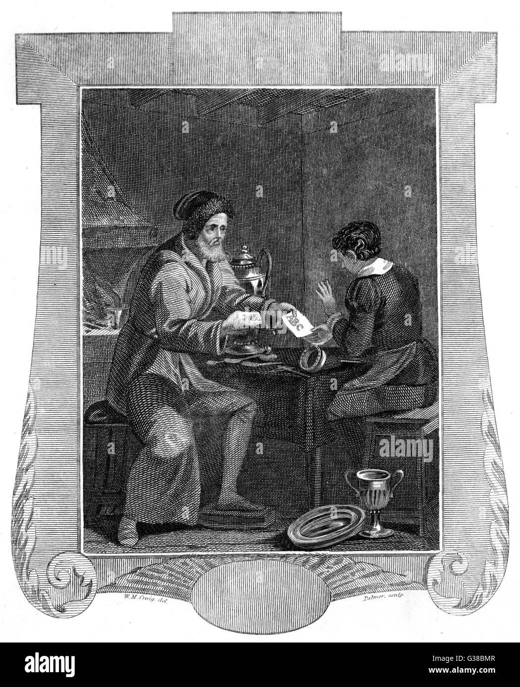 Den deutschen okkulten Philosophen Johann Faustus war manchmal gutgeschrieben mit Druck erfunden zu haben: Hier Stockbild