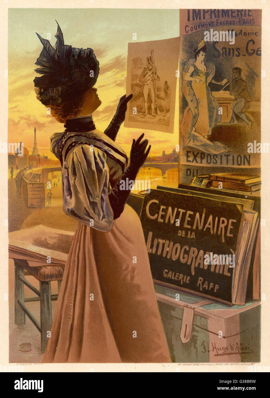 Eine elegante Frau schaut auf lose Drucke auf der Paris-Quais.        Datum: ca. 1896 Stockbild