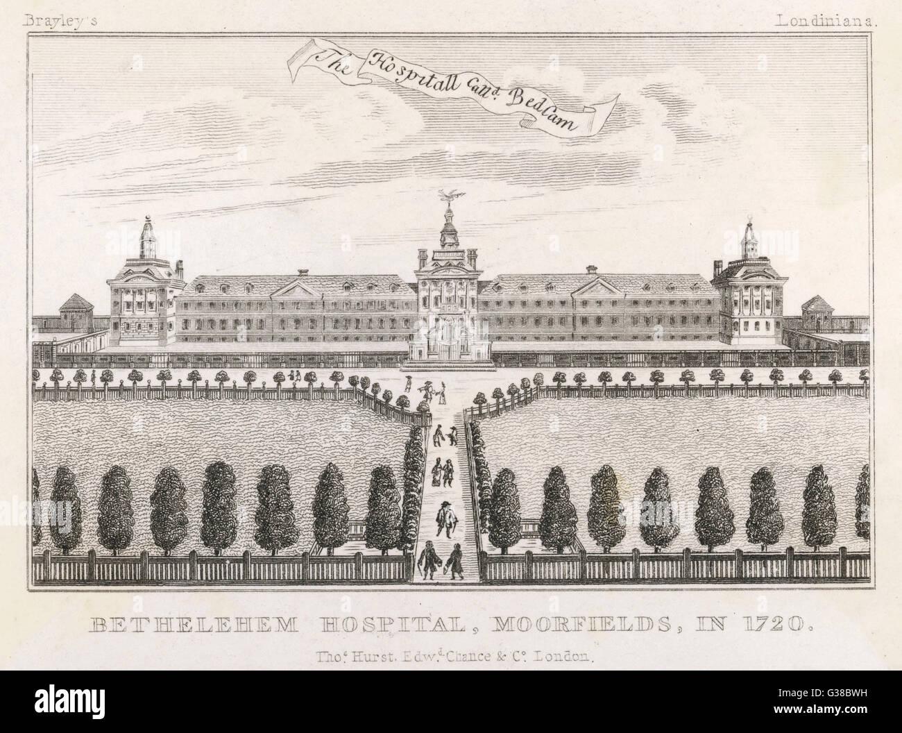 """Krankenhaus für Geisteskranke, bekannt als """"Tollhaus"""" Datum: um 1750 Stockbild"""