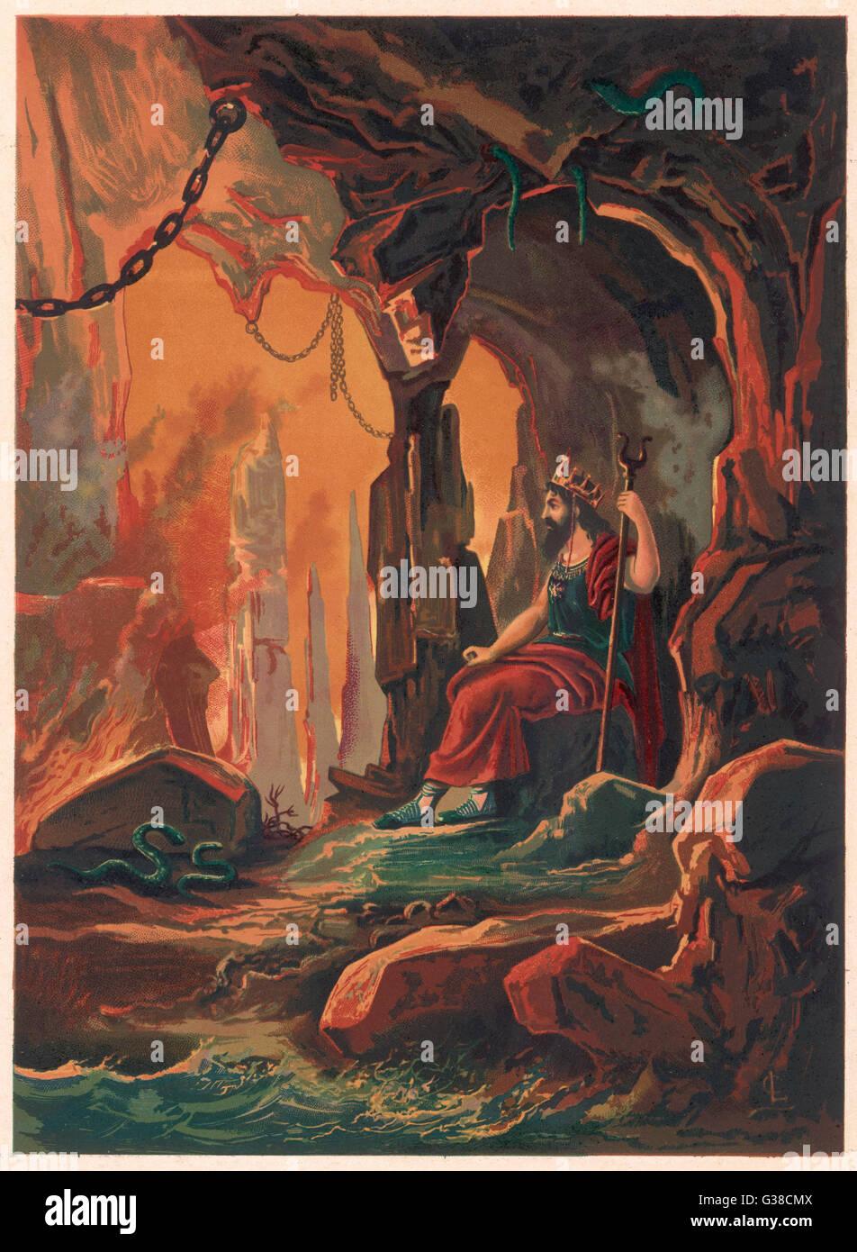 Der Herrscher der Unterwelt betrachtet seine Domäne Stockbild