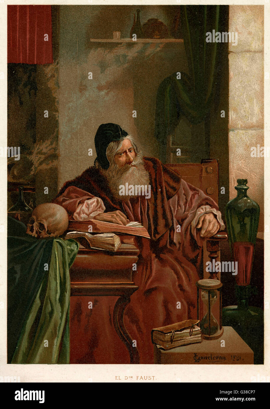 Faust an seinem Studium denkt über die Macht der Magie Stockbild