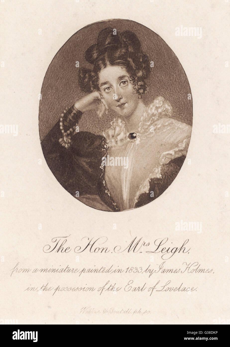 AUGUSTA LEIGH Halbschwester von Byron Date: um 1800 Stockbild