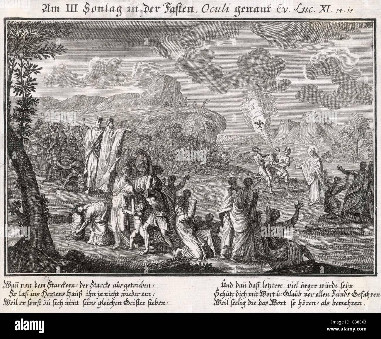 Jesus wirft einen Dämon Datum: 1. Jahrhundert Stockbild