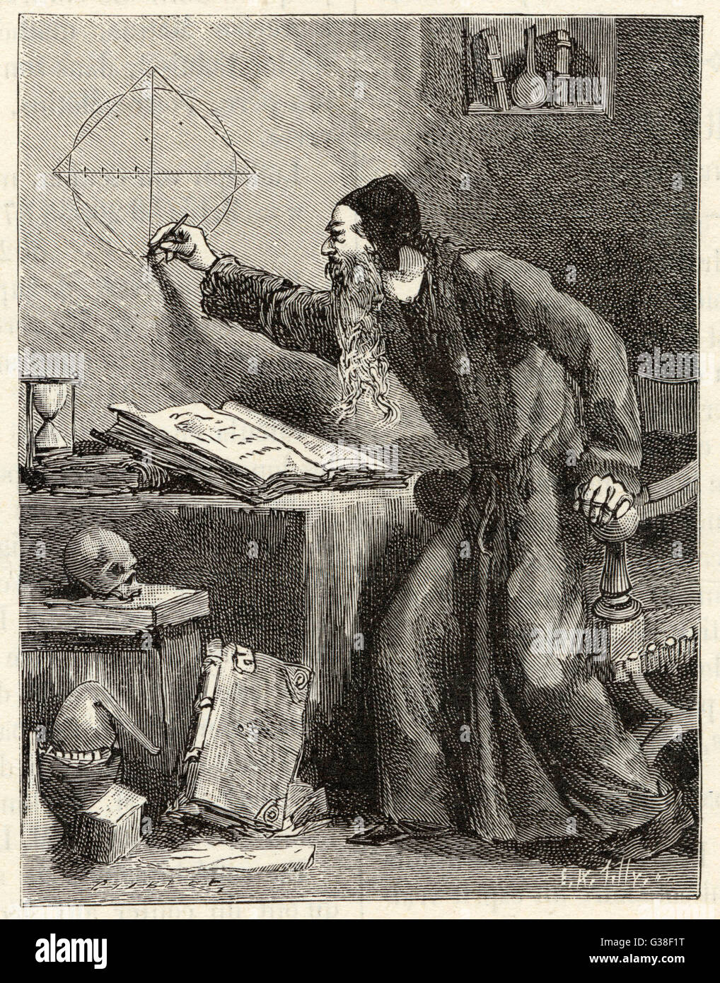 """Ein Renaissance Mathematiker soll """"die Quadratur des Kreises"""" Datum: 16. Jahrhundert Stockbild"""