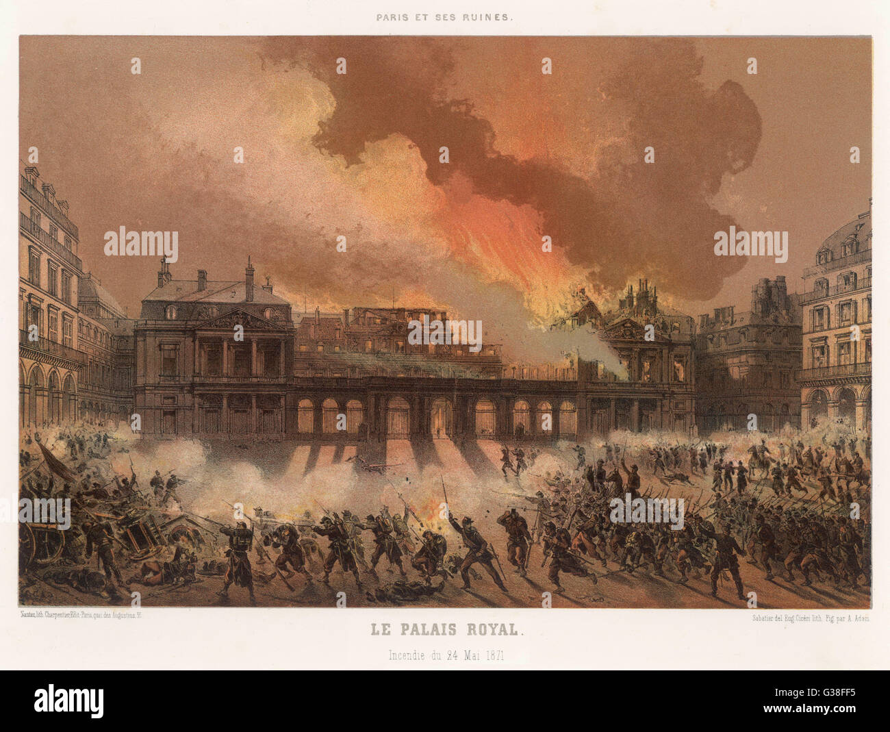 Die Verbrennung des Palais Royal, Paris, schwer beschädigt durch die Kommunarden Datum: 24. Mai 1871 Stockfoto
