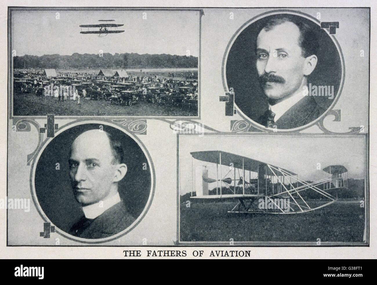 Porträts von Wilbur (links) und (rechts) Orville Wright und Bilder ihrer Flugzeuge. Stockbild