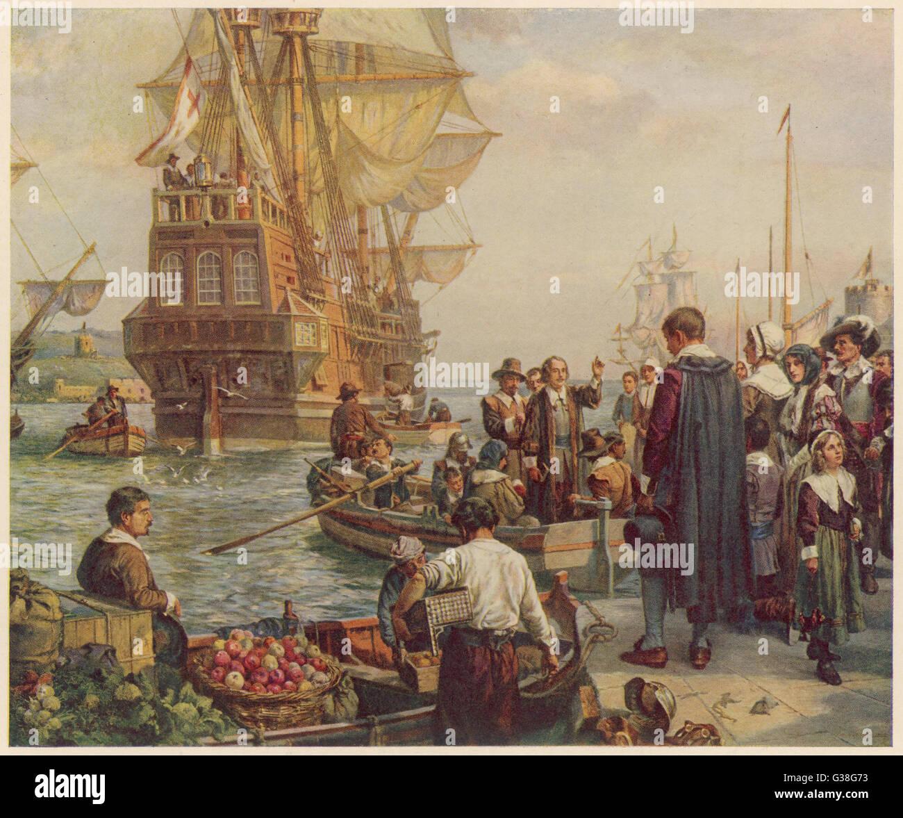 """102 Protestanten (24 davon sind Frauen) verlassen in der """"Mayflower"""" Plymouth für Amerika.   Nur Stockbild"""