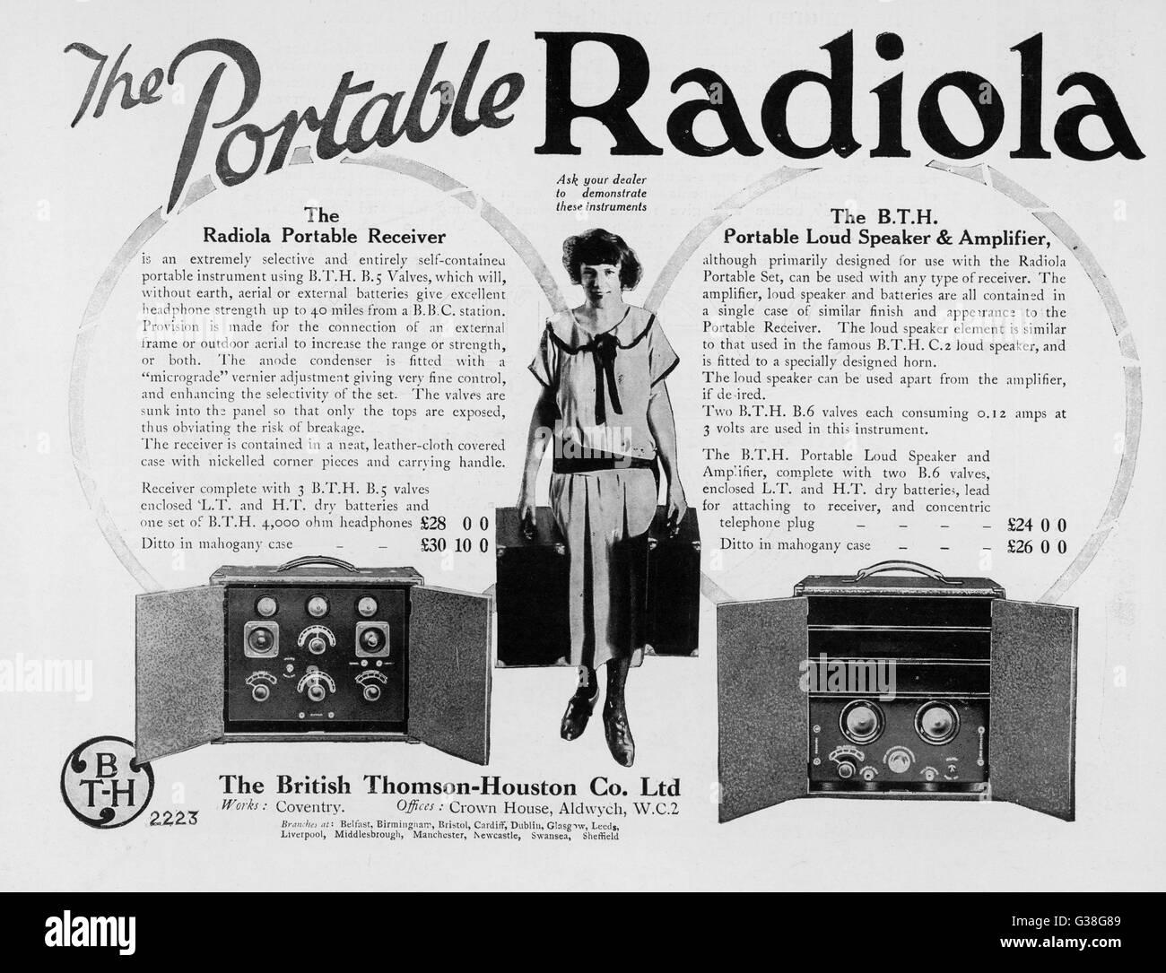 Die Portable (gut, Art) RADIOLA Empfänger, Lautsprecher und Verstärker Datum: 1924 Stockbild