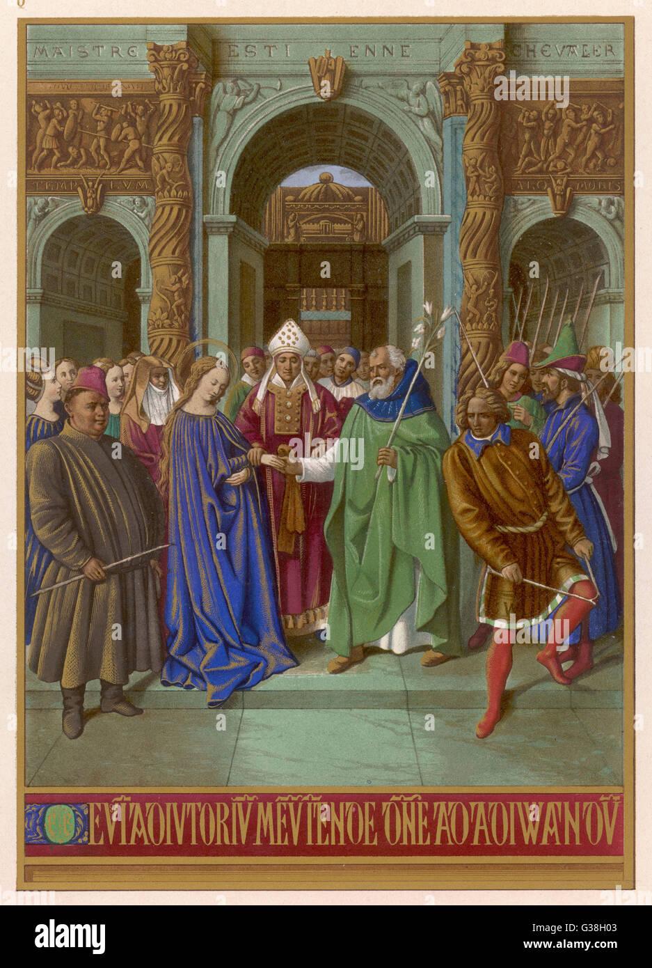 Maria, aber lebenslanges Jungfräulichkeit verpflichtet verheiratete ältere Joseph; enttäuschte Freiern Stockbild