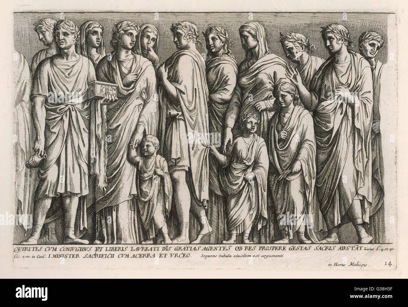 Eine Gruppe von römischen Bürgern.          Datum: Alten Rom Stockbild