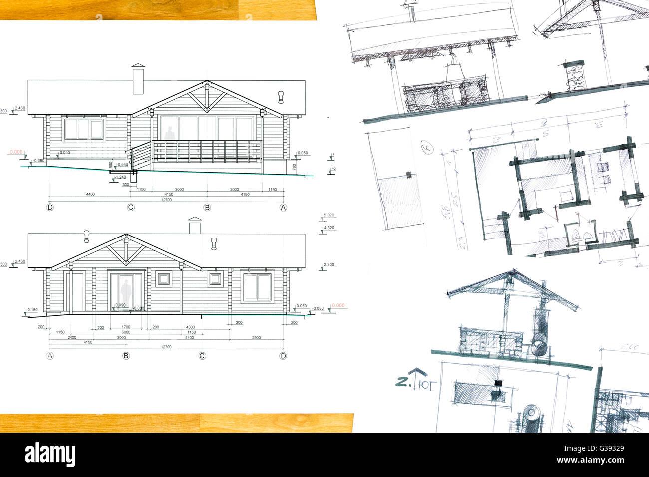 Projekt Des Hauses Mit Architekturskizzen Auf Holzernen Hintergrund Stockbild