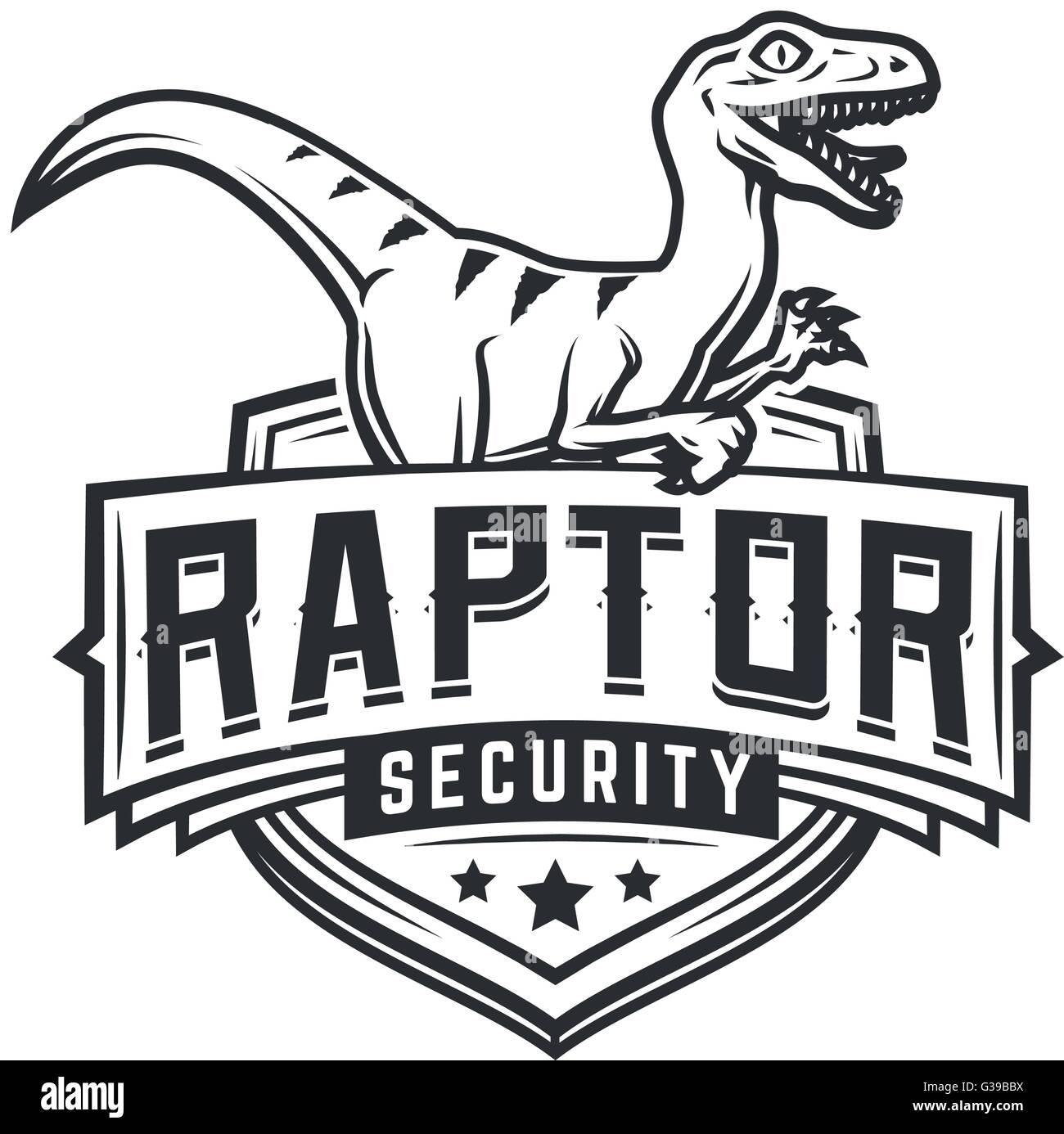 Raptor-Sport-Logo-Maskottchen-Design. Vintage College Team Wappen ...