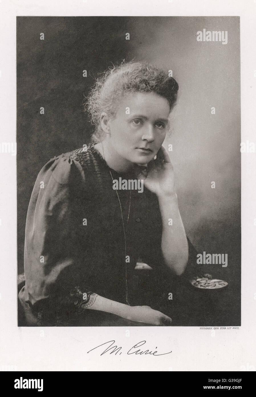 MARIE-Curie-polnische Wissenschaftler.     1867-1934 Stockfoto