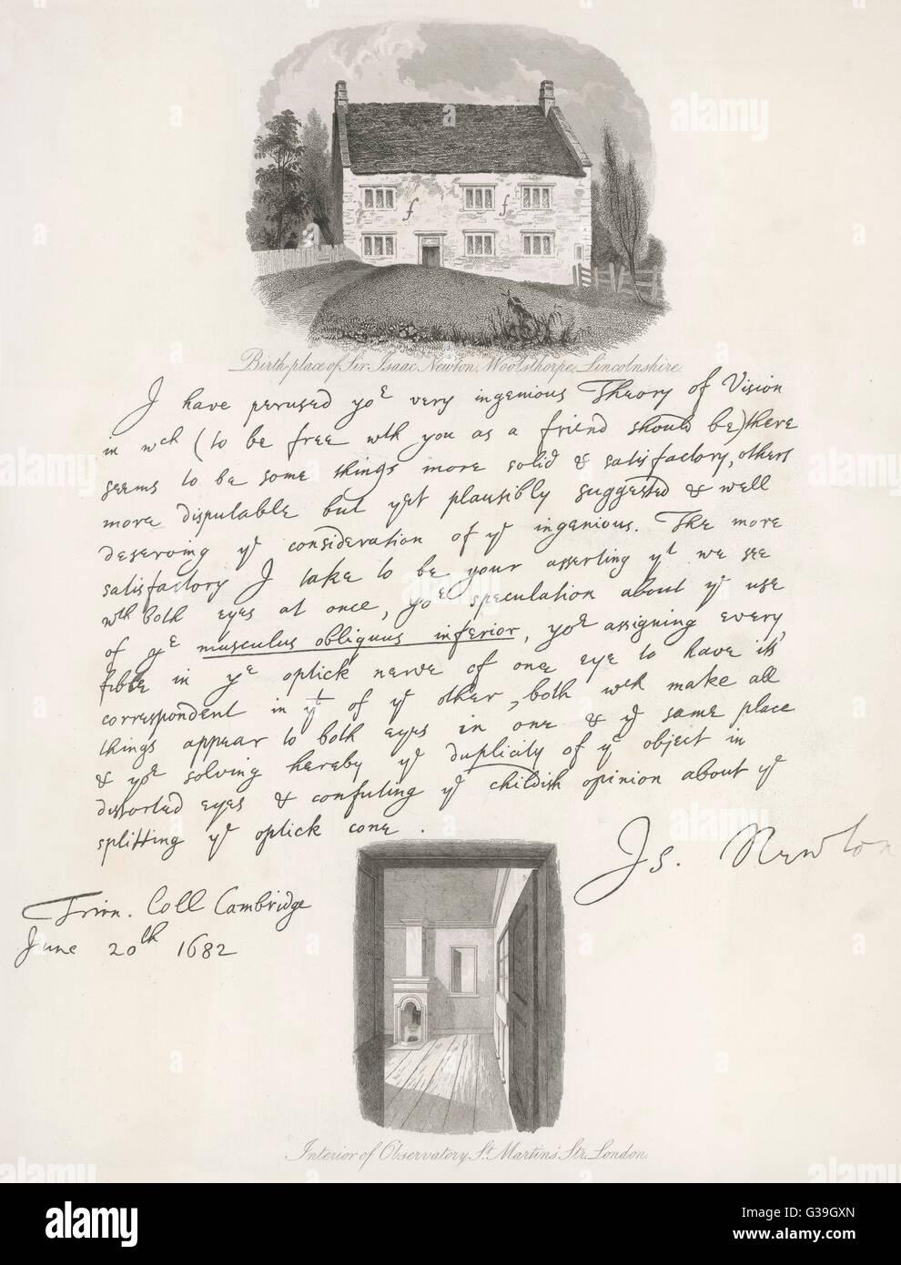 Brief Von Der Englische Wissenschaftler Datiert 20 Juni 1682