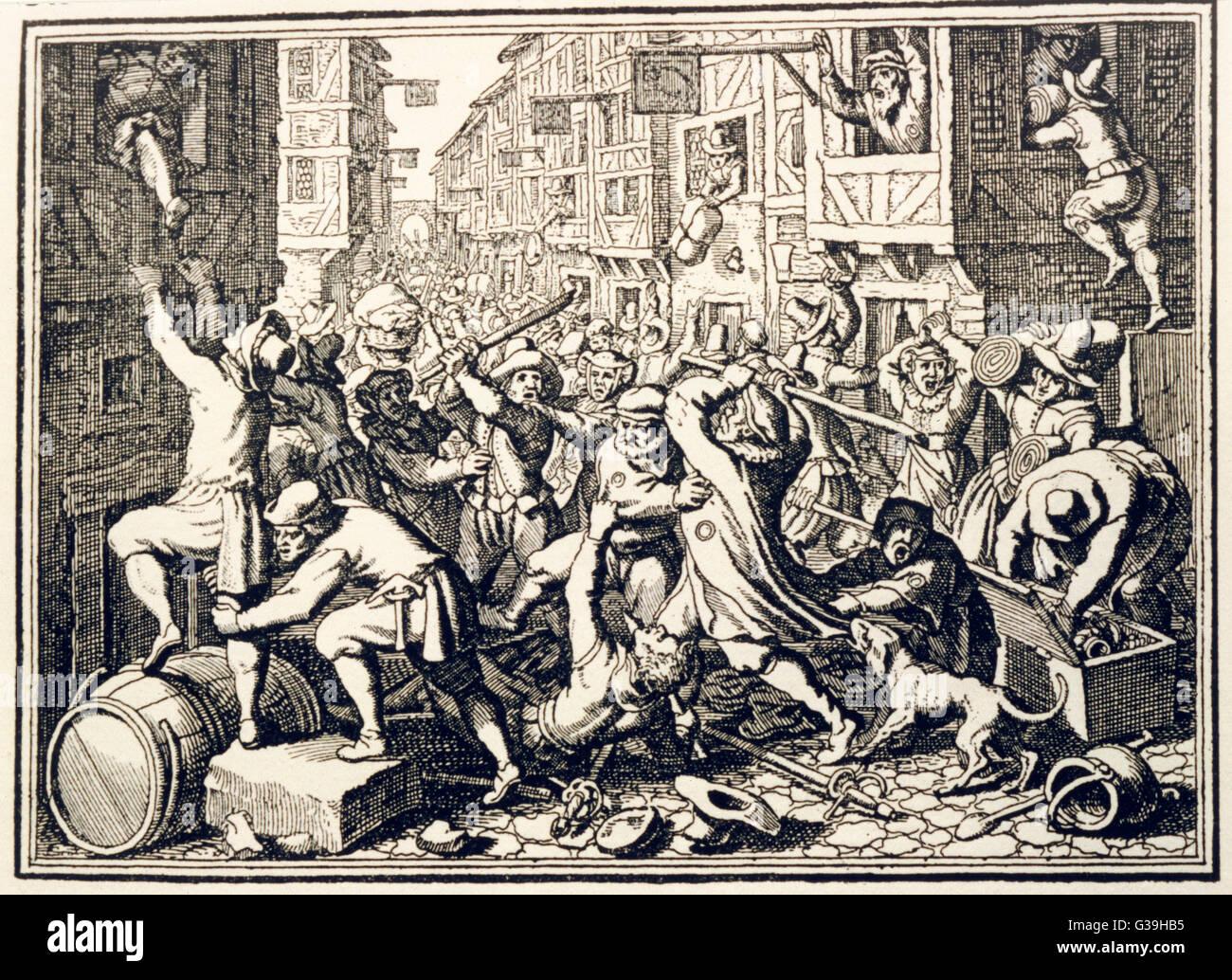 Plünderung der Judengasse in Frankfurt am Main. Datum: 1614