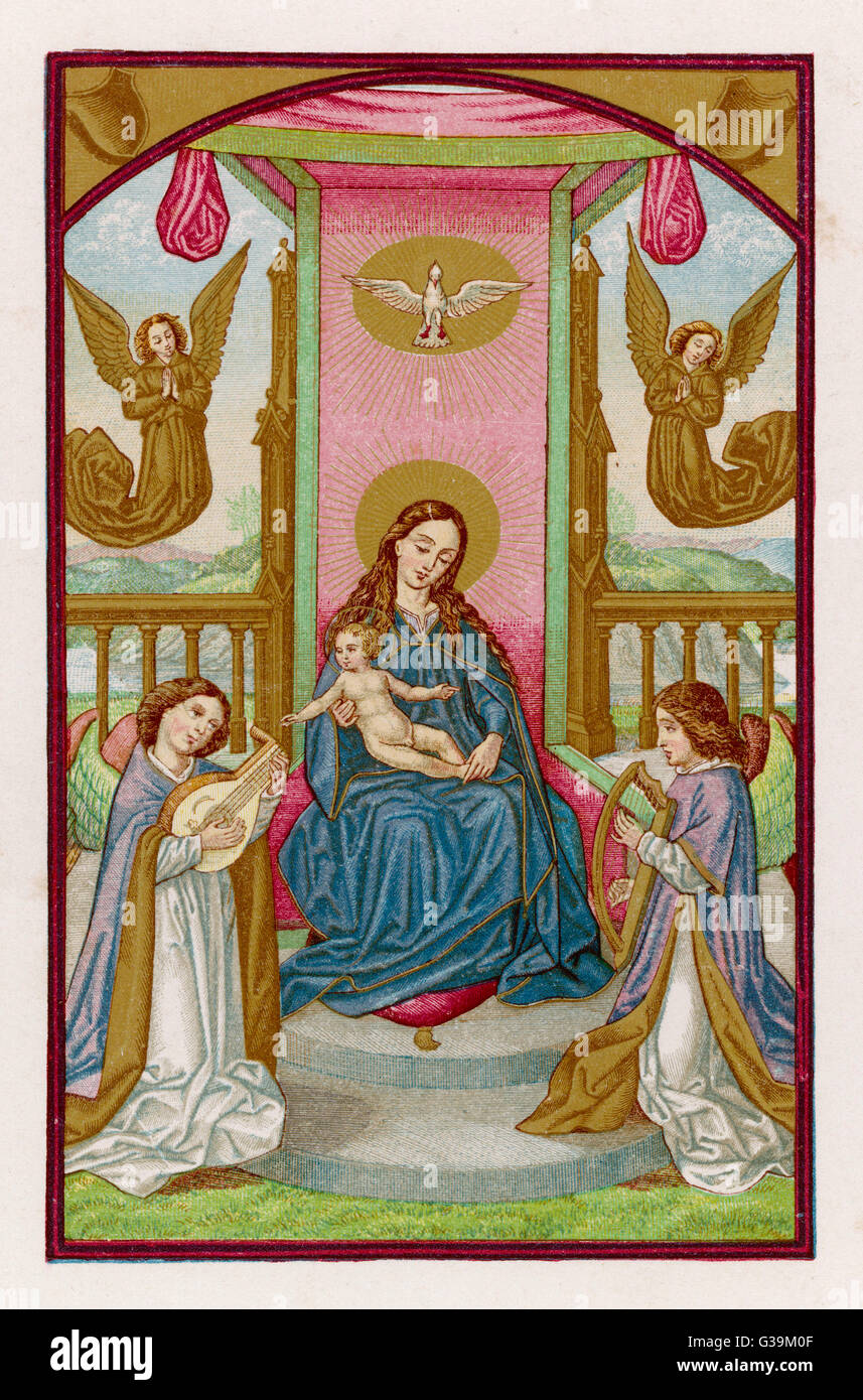 Maria und Jesus werden durch ein paar von musikalisch hochbegabten Engel Datum unterhalten: 1. Jahrhundert Stockbild