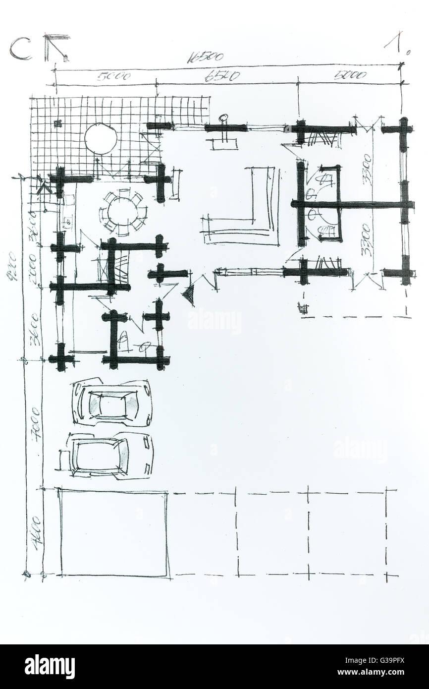 Architektonische zeichnen eine Skizze mit Bleistift. Haus Plan ...