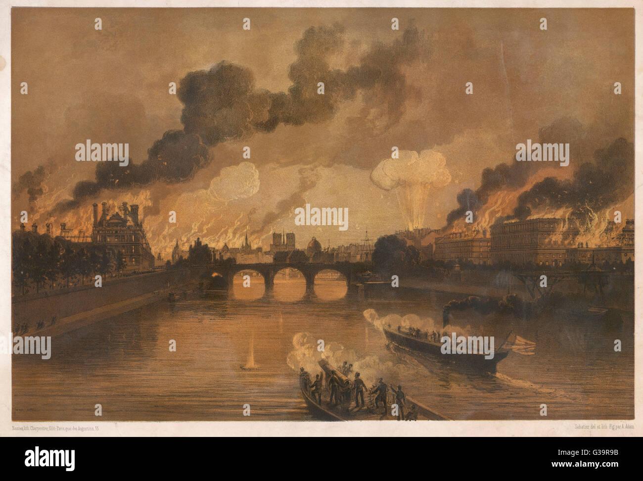 Paris Flammen Datum: 24. Mai 1871 Stockfoto