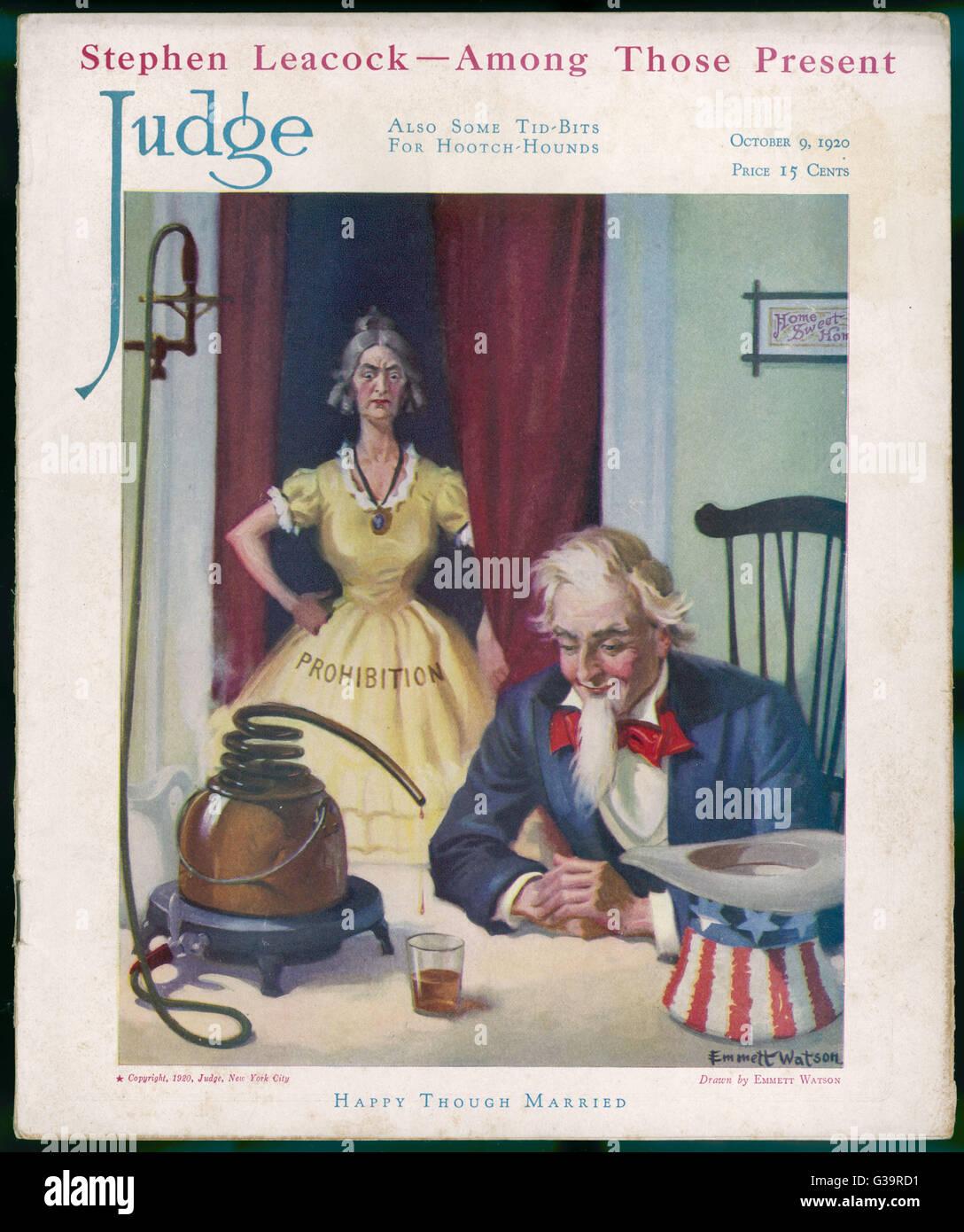 Verbot und Onkel Sam.         Datum: 1920 Stockbild