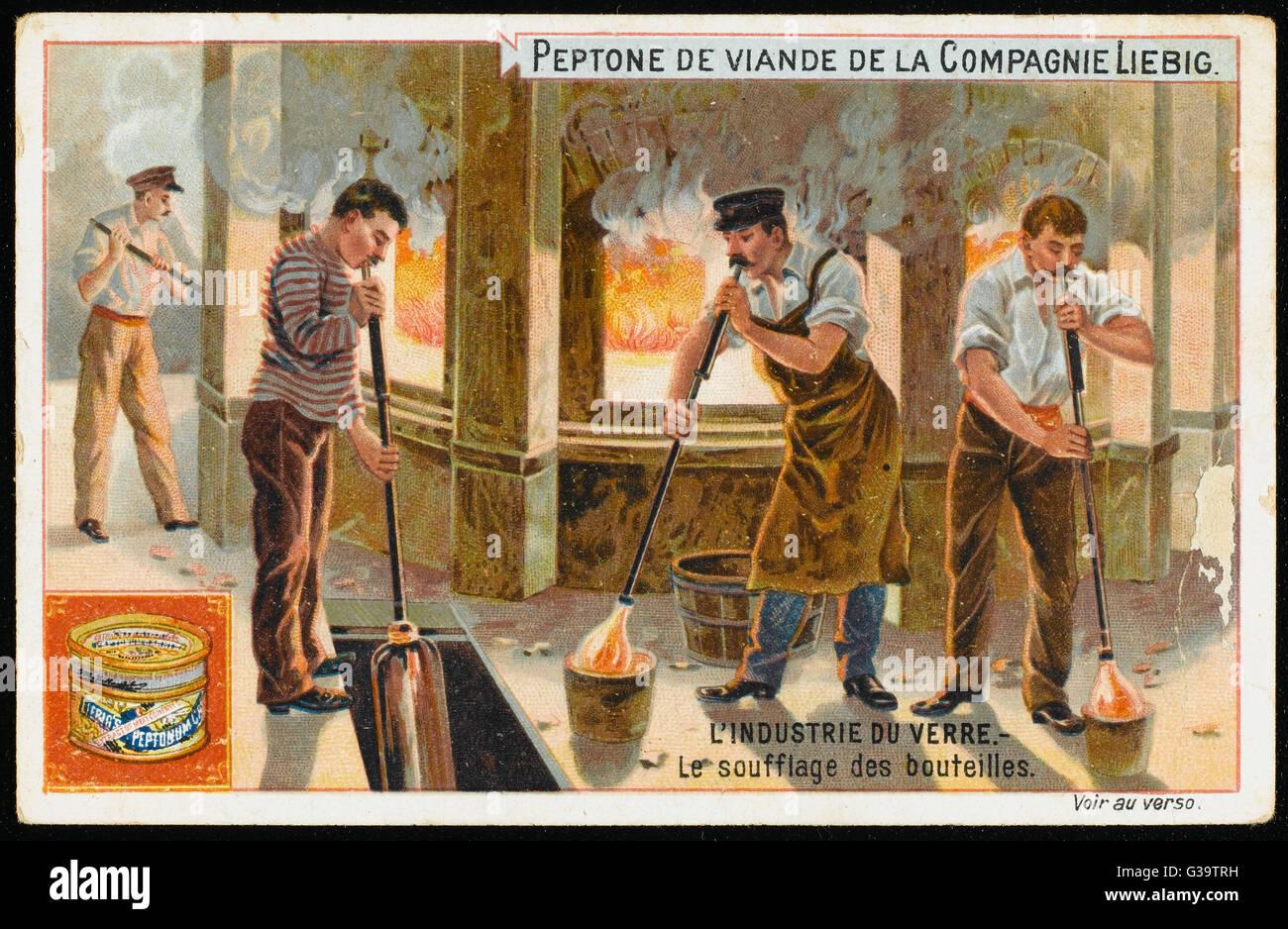 Es weht Glasflaschen.          Datum: 19. Jahrhundert Stockfoto
