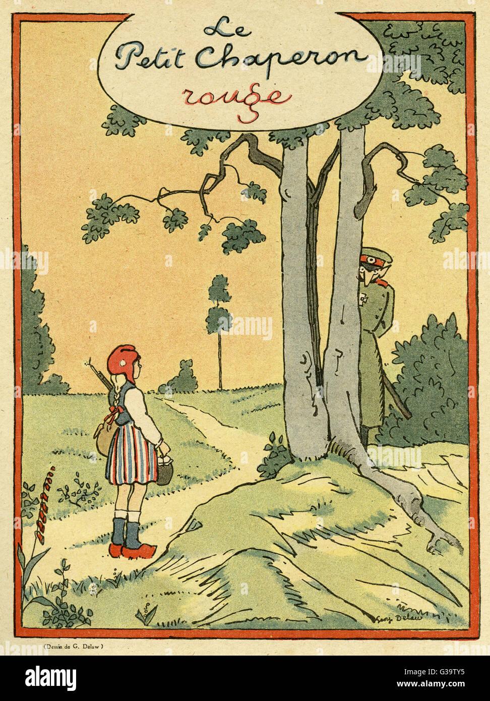 Cartoon, Little Red Riding Hood in einer während des Krieges-Version ...