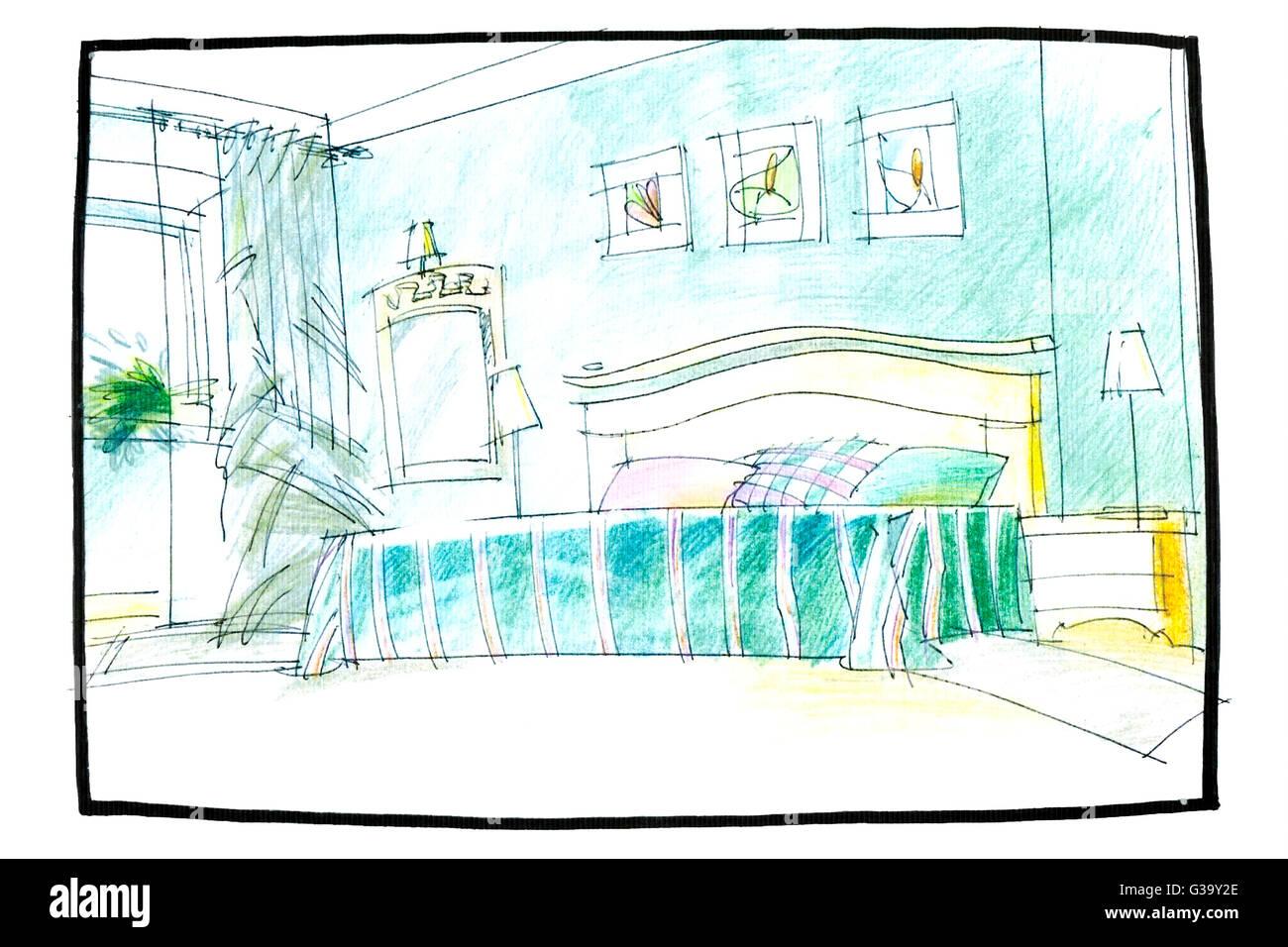 Schlafzimmer Innenraum zeichnen mit Bleistift mit Bett und einem ...