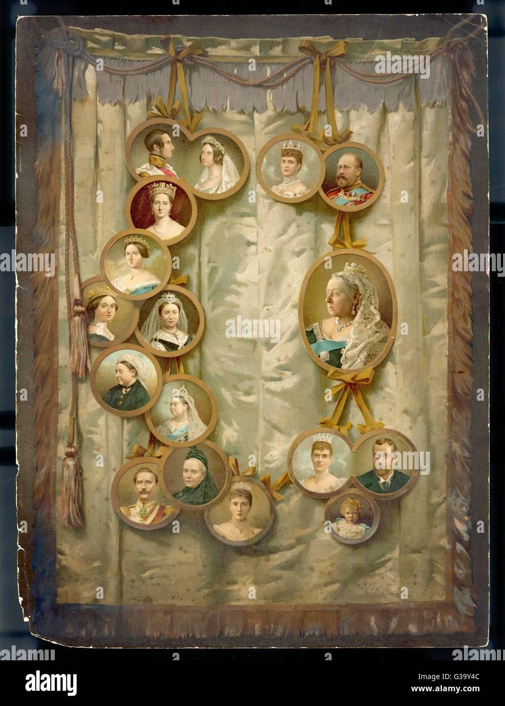 Ein Array von königlichen Portraits zum Gedenken an Victorias Diamond Jubilee Datum: 1897 Stockbild