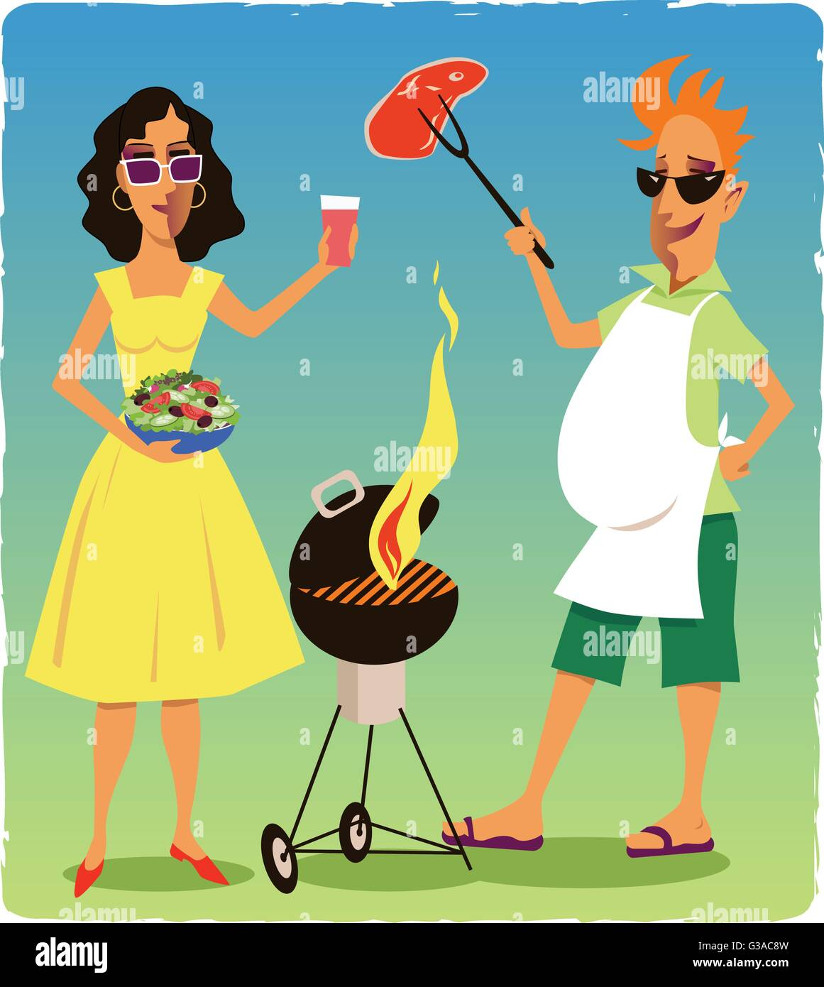 paar auf einer grillparty l chelnder mann h lt eine st ck fleisch ber einen brennenden grill. Black Bedroom Furniture Sets. Home Design Ideas